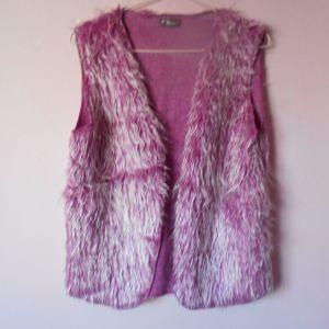 Μωβ γούνινο αμάνικο γιλέκο Size M, Polyester