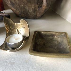 Μπρούτζινο τασάκι και βάση κεριού