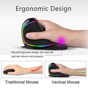 Εργονομικό κάθετο ποντίκι RGB 6 κουμπιά 4000 DPI οπτικό ποντίκι υπολογιστή με αφαιρούμενο στήριγμα παλάμης για φορητό υπολογιστή   laptop και για οποιαδήποτε εργασία