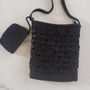 Τσάντα πλεκτή μικρή χιαστί με ποστοφολάκι
