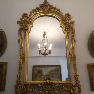 Ξυλογλυπτος Χειροποίητος Καθρέφτης Αντίκα πατίνα σε χρυσό!Άριστη Κατάσταση!