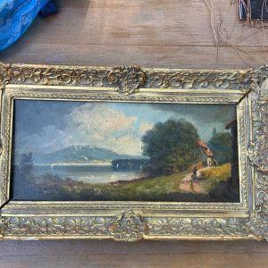 Εκπληκτική παλαιά ελαιογραφία πίνακας ζωγραφικής ενυπόγραφο από ξένο ζωγράφο