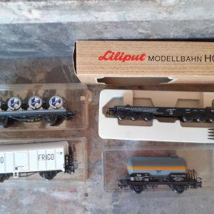 μοντελισμο τραινων Η0 4 βαγονια Liliput + 2 δωρεαν