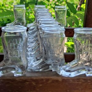 Jim Beam glass cowboy boots