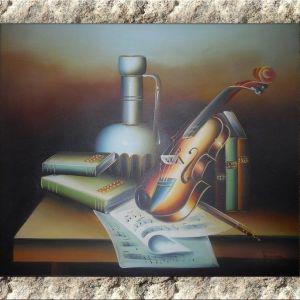 Πίνακας ζωγραφικής (Βιολί Ελαιογραφία) Έργο ζωγραφισμένο στο χέρι σε τελαρωμένο καμβά - 60X50X1.5 cm