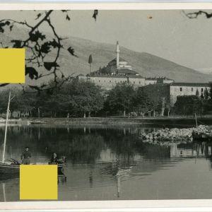 """Συλλεκτική Καρτ Ποστάλ Ιωαννίνων δεκ. 1950 με τίτλο """"Απ' τα ωραία Ιωάννινα """" Ioannina Janina Postcard Epirus Ήπειρος lake morning Kira Frosini View"""