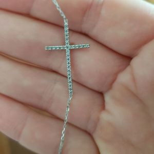 Κολιε λευκοχρυσο με μπριγιαν σταυρό