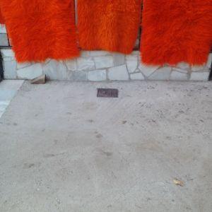 τρεις πορτοκαλί διαδρομή φλοκάτες με μήκος 1,50 X 70 1,20 X 70 1,00 X 70