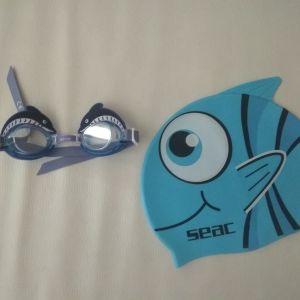 Παιδικό Kολυμβητικό Σετ Σκουφάκι & Γυαλάκια Seac Sub Flipper Blue