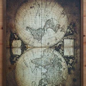 Παλαιός Χάρτης του κόσμου σε κορνίζα 50×70