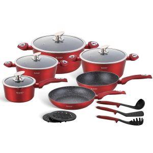 Edenberg Σετ αντικολλητικά μαγειρικά σκεύη από χυτοπρεσαριστό αλουμίνιο με εργαλεία κουζίνας 15 τμχ σε κόκκινο χρώμα EB-5612