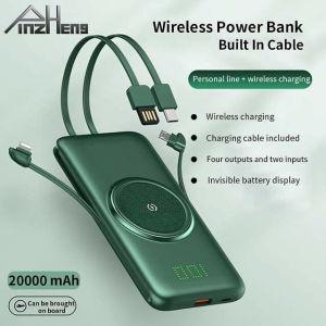 Power bank με ενσωματωμένα καλώδια και ασύρματη φόρτιση 10000mah και 20000mah