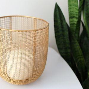 Handcrafted bronze gold candle holder / Χειροποίητο χρυσό φανάρι για κεριά (κηροπήγιο)