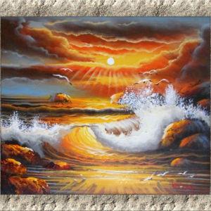 Πίνακας ζωγραφικής (Θαλασσογραφία ελληνικού νησιού) Ελαιογραφία σε τελαρωμένο καμβά