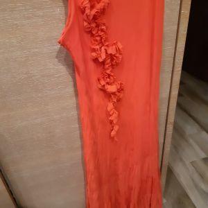 Φόρεμα ροζ-πορτοκαλι Νο M-L