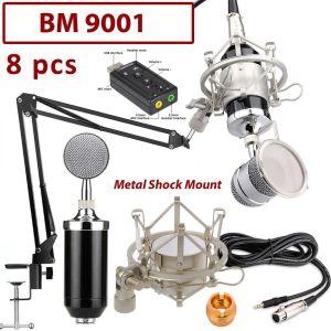 Πυκνωτικό Μικρόφωνο, με Βάση, Κάρτα ήχου, Μεταλλικό Shock Mount, Pop Filter και κάρτα ήχου σε 6 χρώματα