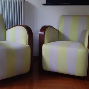 Art-deco armchairs. Upholstered in Designers guild striped linen.