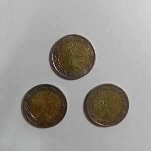 2000/2001/2013 LIBERTÉ ÉGALITÉ FRATERNITÈ 2 euro coins