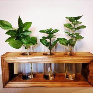 καινουργιο ξυλινο βαζο 3 θεσεων