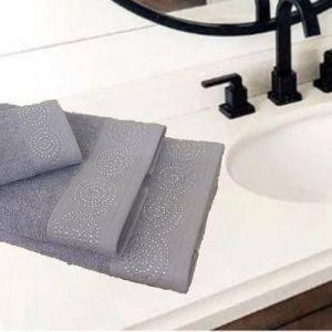 Σετ πετσέτες 3 τεμαχίων γκρι με στρας