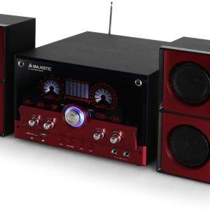 Majestic AUDIOLA Ah 2340 K 2.1 HI-FI Μικρό Στερεοφωνικό Σύστημα Karaoke με Μικρόφωνο USB / SD / AUX - REMOTE - Κόκκινο,ήχου 35 watt