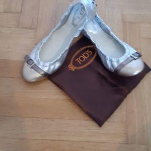 tod's ballerina flats silver metallic