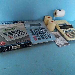 αριθμομηχανες τυπου κομπιουτερακι,τεμαχια 2,ρολλα χαρτιου 4 τεμ,ολα μαζι διδονται αντι 10€