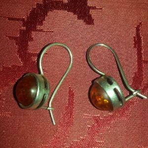 Ασημένια 925 σκουλαρίκια με κεχριμπάρι Βαλτικής