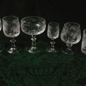 Ποτήρια, έξι είδους σε εξάδες, 36 τεμάχια. Αντίκες του 1960, χειροποίητο κρύσταλλο Bohemia ( Czechoslovakia)