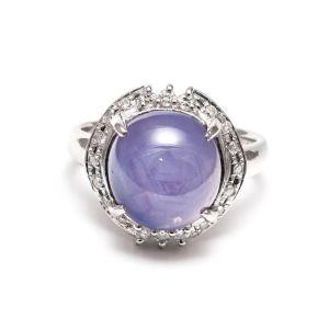 Star sapphire 10.40ct platinum ring with diamonds