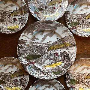 7 Vintage Πιάτα, Quiet Day, W. H. GRINDLEY, Staffordshire England