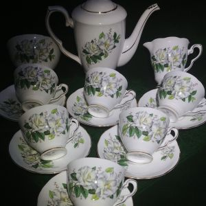 """Σερβίτσιο τσαγιού Royal Stafford """"Camellia"""", πορσελάνη Αγγλίας bone china 1950"""