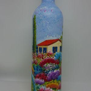 Διακοσμητικό μπουκάλι γεμάτο κρασί n18