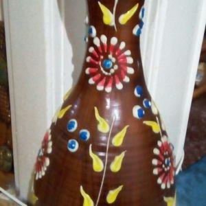 Έθνικ, χειροποίητο, κεραμικό, επιδαπέδιο βάζο, ύψους 66cm από το Μεξικό.