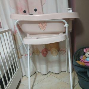 Μπανακι μωρού με βάση και ενσωματωμένο θερμόμετρο της bebejou και δωρο το βοηθητικο καθισματακι