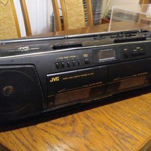 JVC RC-W410 TWIN CASSETTE RADIO RECORDER  HYPER BASS Stereo BOOMBOX