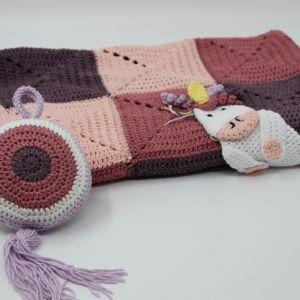 Κουβέρτα χειροποίητη πλέκτη λίκνου κούνιας παιδικό κρεβάτι μοτίβο κορίτσι