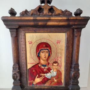 εικόνες ξυλόγλυπτες με επίχρυσες αγιογραφίες