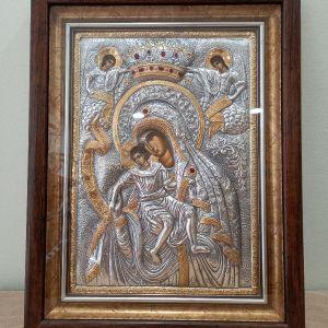 Ασημένια Μασίφ Εικονα 950 Παναγία Άξιον Εστι 39×50εκ