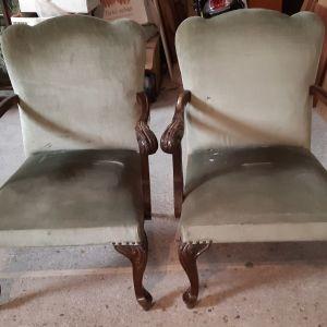2 Καρέκλες Σαλονιού (Αντίκες) ΤΕΛΕΥΤΑΊΑ ΕΥΚΑΙΡΊΑ ΓΙΑ ΝΑ ΦΎΓΟΥΝ.