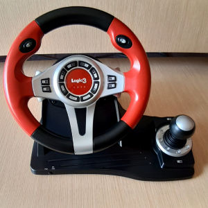ΤΙΜΟΝΙΈΡΑ ΚΑΙ ΠΕΔΑΛΙΑ LOGIC3 TOP DRIVE GT RED STEERING WHEEL AND PEDALS ΓΙΑ PS3 PS2 & PC