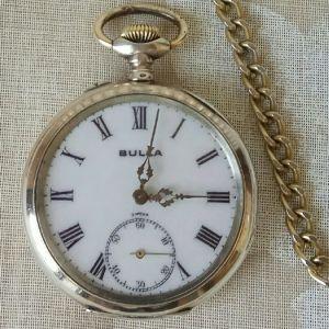 Ασημένιο 0,800 ρολόι τσέπης BULLA, διαμέτρου 48 χιλιοστών, καντράν πορσελάνης, No 668550, χρονολογίας 1900, λειτουργικό.