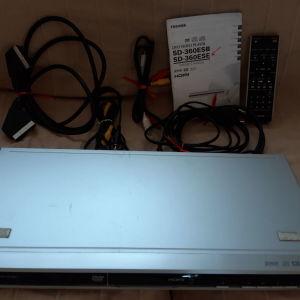 TOSHIBA SD-360ESE DVD Player με manual,  τηλεχειριστηριο και καλωδια.