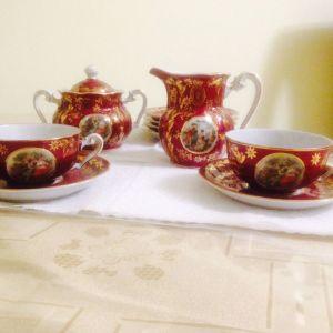 Σερβίτσιο    καφέ   πορσελάνη  για   2  άτομα   με  γαλατιέρα  και  ζαχαριέρα,   αριστοκρατικό  της   τσαρικής    εποχής