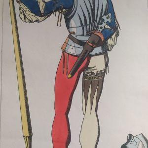 1868 Ενετός στρατιώτης του Δόγη της Βενετίας επιχρ. Χαλκογρ. 30x43cm