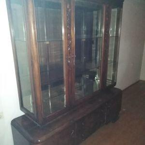 Βιτρίνα ξύλινη αντίκα vintage, σκαλιστή