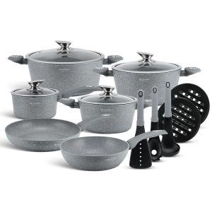 Edenberg Σετ αντικολλητικά μαγειρικά σκεύη με εργαλεία κουζίνας 15 τμχ σε γκρι χρώμα από χυτοπρεσαριστό αλουμίνιοEB-5620