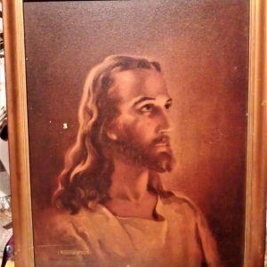 "VINTAGE 1941 ΠΙΝΑΚΑΣ ΑΝΤΙΚΑ ""HEAD OF CHRIST""Sallman Head"