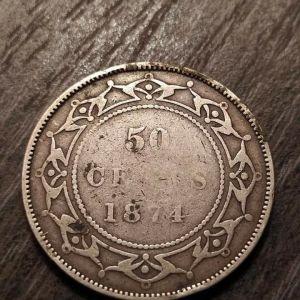 Ασημένιο 50 cents 1874 Newfoundland Canada...