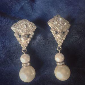 σκουλαρίκια με Swarovski και πέρλες με κλιπ , vintage